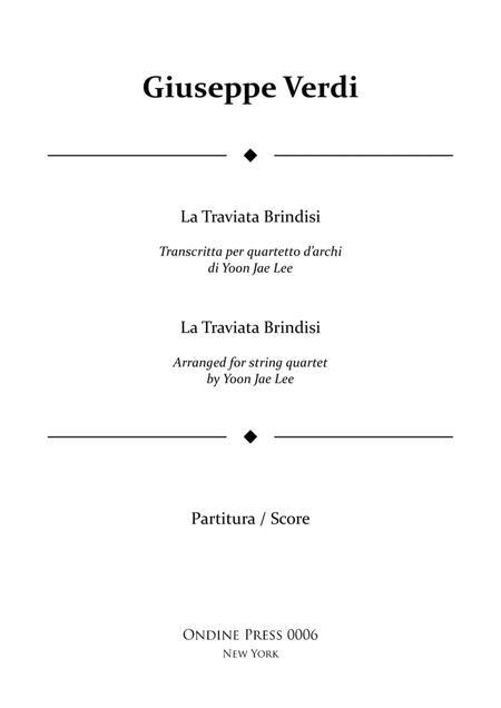 Verdi (arr. Lee): La Traviata Brindisi for String Quartet, Full Score