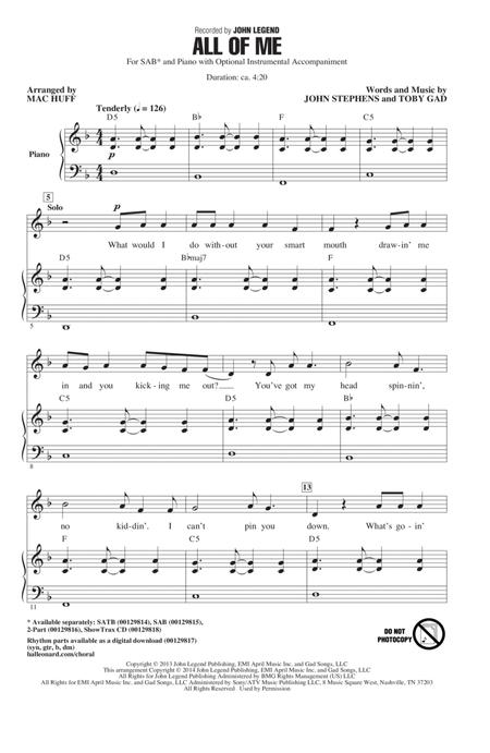 All Of Me (arr. Mac Huff)
