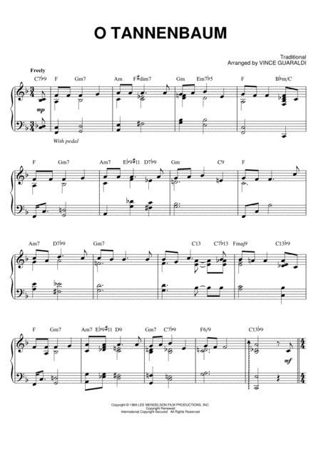 Noten Oh Tannenbaum.Download O Tannenbaum Sheet Music By Vince Guaraldi Sheet Music Plus