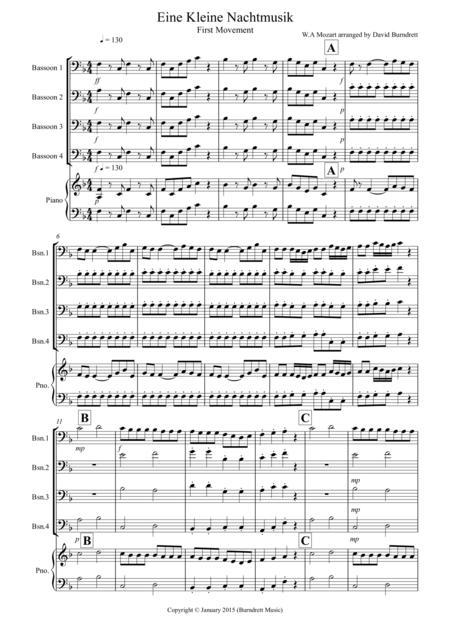 Eine Kleine (1st movement) for Bassoon Quartet