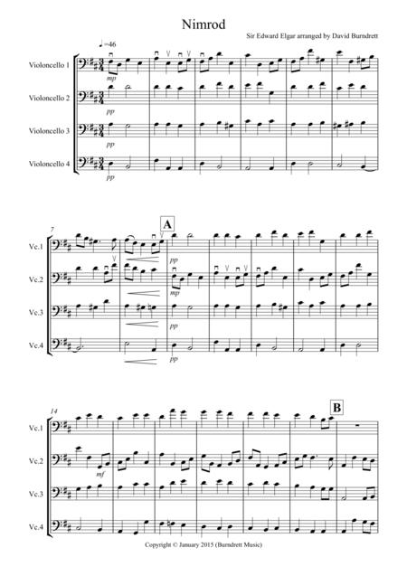 Nimrod (from the Enigma Variations) for Cello Quartet