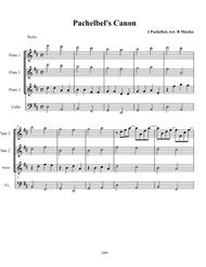 Pachelbel's Canon for Flute Trio with optional Cello or other Bass Instrument