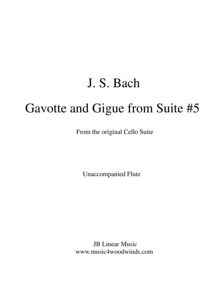 J. S. Bach Gavotte and Gigue from Suite #5 set for unaccompanied flute