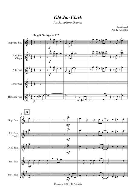 Old Joe Clark - for Saxophone Quartet