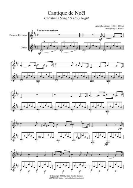 O Holy Night / Cantique de noel for descant recorder and guitar