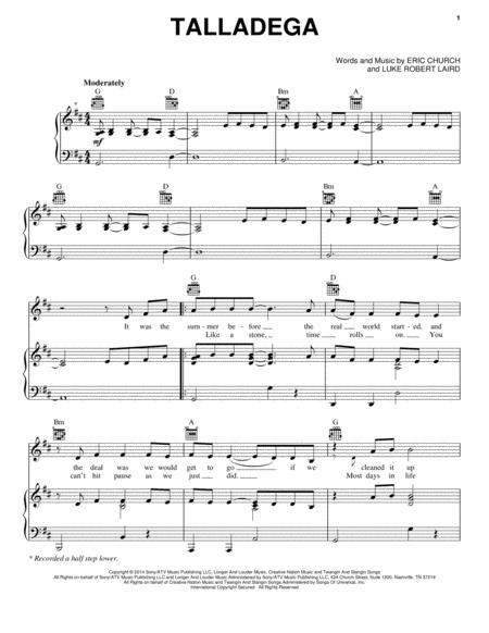 Download Talladega Sheet Music By Eric Church Sheet Music Plus