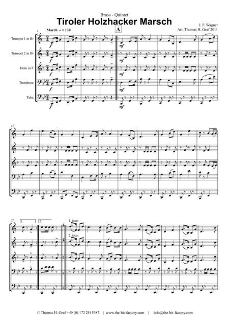 Tiroler Holzhacker Marsch - German Polka March - Oktoberfest - Brass Quintet