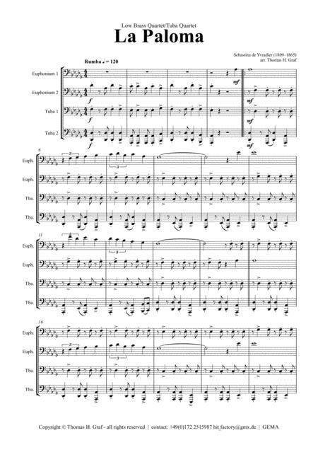 La Paloma - Spanish Habanera - Brass Quartet