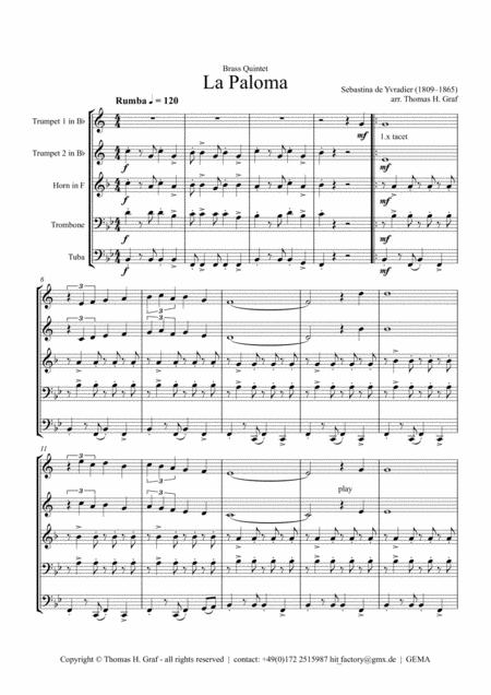 La Paloma - Spanish Habanera - Brass Quintet