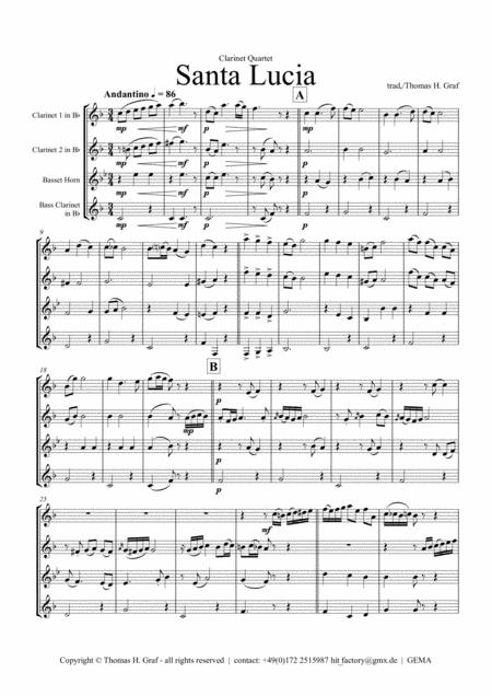 Santa Lucia - Italian Folk Song - Here in the twighlight - Clarinet Quartet
