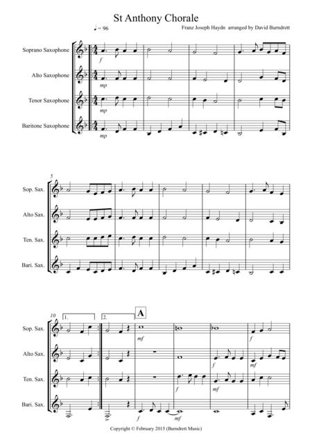 St Anthony Chorale for Saxophone Quartet