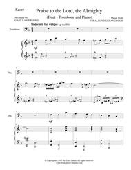 PRAISE TO THE LORD, THE ALMIGHTY (Duet – Trombone and Piano/Score and Parts)