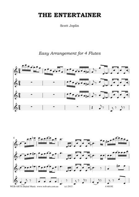 SCOTT JOPLIN THE ENTERTAINER easy arrangement for 4 flutes