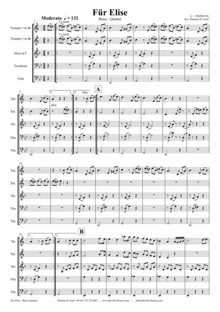 For Elise - Ludwig van Beethoven - Brass Quintet