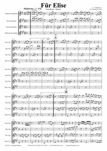 For Elise - Ludwig van Beethoven - Saxophone Quartet