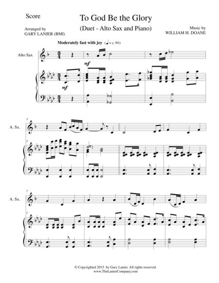TO GOD BE THE GLORY (Duet – Alto Sax and Piano/Score and Parts)