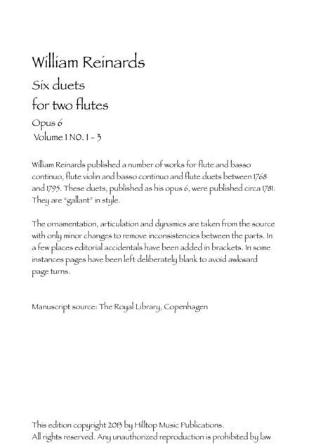 Reinhards Six Flute Duets Op. 6 Volume 1 No. 1 - 3
