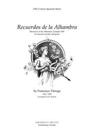Recuerdos de la Alhambra for descant recorder and guitar