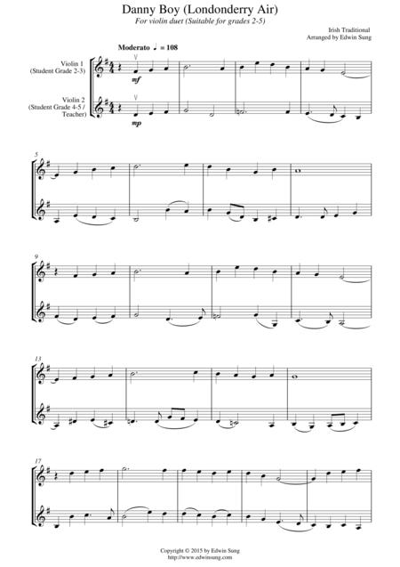 Download Danny Boy Londonderry Air For Violin Duet Suitable For
