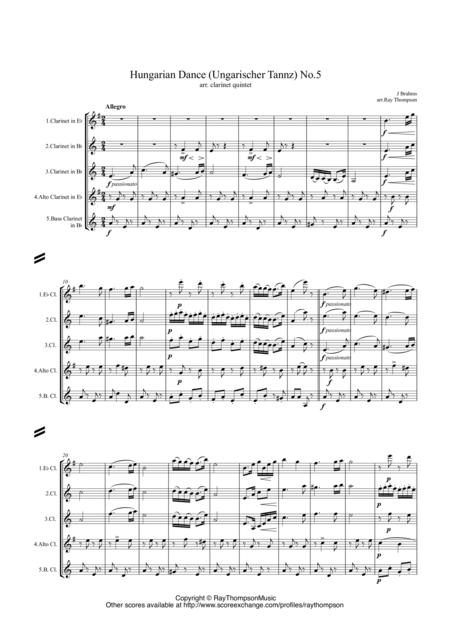 Brahms: Hungarian Dance (Ungarischer Tannz) No.5 - clarinet quintet