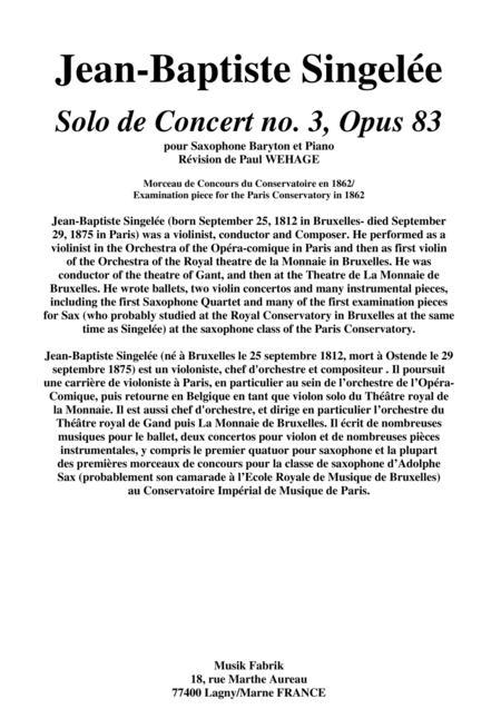 Jean-Baptiste Singelée Solo de Concert no. 3, Opus 83 for baritone saxophone and piano