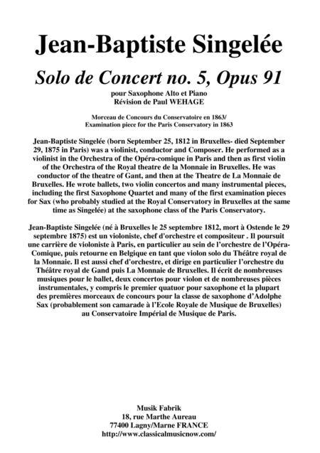 Jean-Baptiste Singelée: Solo de Concert no. 5, Opus 91 pour Saxophone Alto et Piano