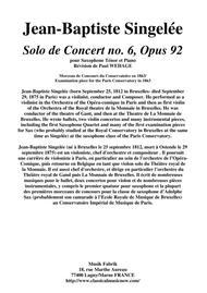 Jean-Baptiste Singelée: Solo de Concert no. 6, Opus 92 pour Saxophone Ténor et Piano