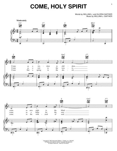 Download Come, Holy Spirit Sheet Music By Gloria Gaither