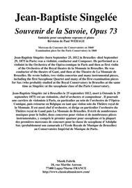 Jean-Baptiste Singelée: Souvenir de la Savoie, Opus 73 fantaisie pour saxophone soprano et piano