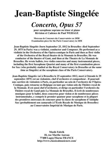 Jean-Baptiste Singelée Concerto, Opus 57 pour saxophone soprano ou ténor et piano Révision et Cadence de Paul WEHAGE