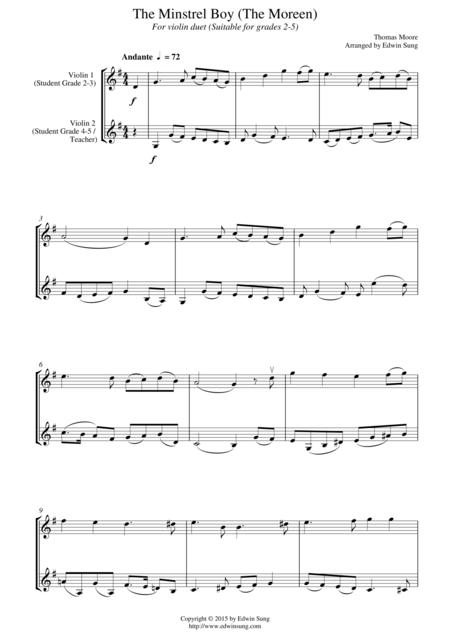 The Minstrel Boy (The Moreen) (for violin duet, suitable for grades 2-5)