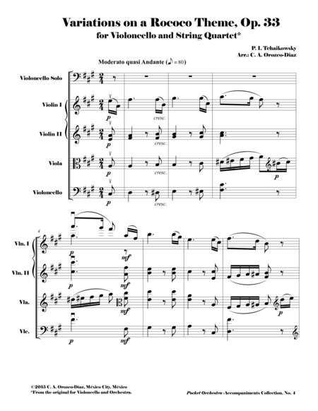 Tchaikowsky - Variations on a Rococo Theme for Violoncello and Orchestra, Op. 33 (Accompaniment Reduction for String Quartet) SCORE