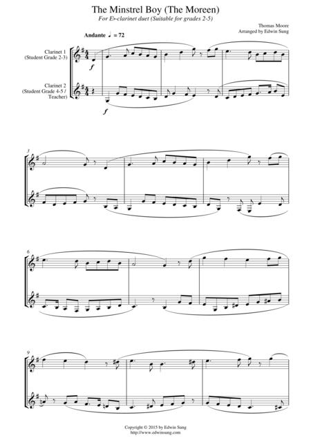 The Minstrel Boy (The Moreen) (for Eb-clarinet duet, suitable for grades 2-5)