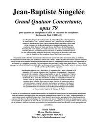 Jean-Baptiste Singelée: Grand Quatuor Concertante, opus 79 pour quatuor de saxophones SATB ou ensemble de saxophones