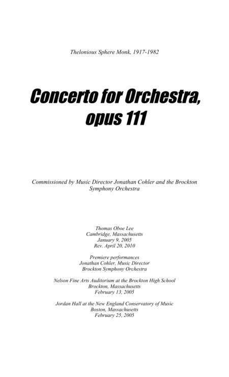 Concerto for Orchestra, opus 111 (2005, rev. 2010)