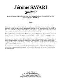 Jérôme Savari:  Quartet for SATB saxophone quartet