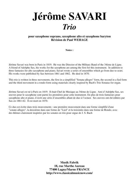 Jérôme Savari:  Trio for soprano saxophone, alto saxophone and baritone saxophone