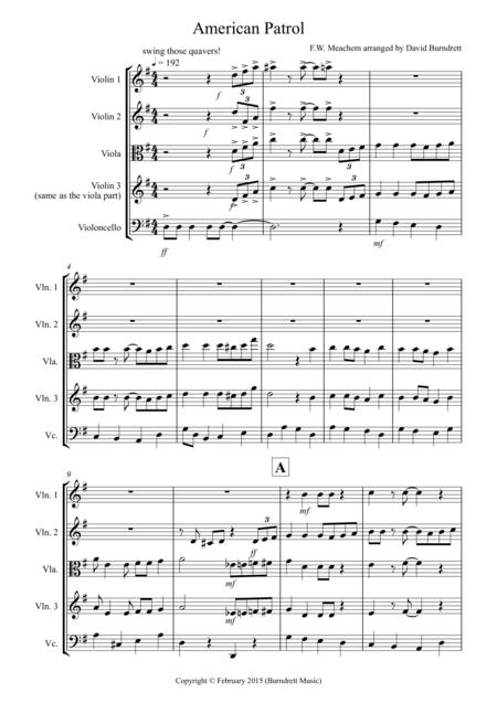 American Patrol for String Quartet