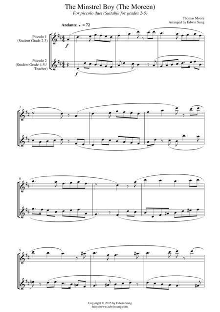The Minstrel Boy (The Moreen) (for piccolo duet, suitable for grades 2-5)