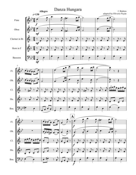 Hungarian dance no. 5 by J. Brahms for woodwind quintet