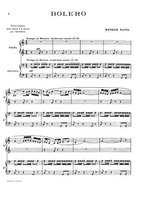 Download Ravel Bolero For Piano Duet1 Piano 4 Hands