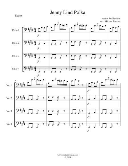 Jenny Lind Polka for Cello Quartet