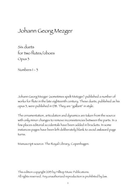 Mezger Six Duets for two oboes Op. 3 No. 1 - 3