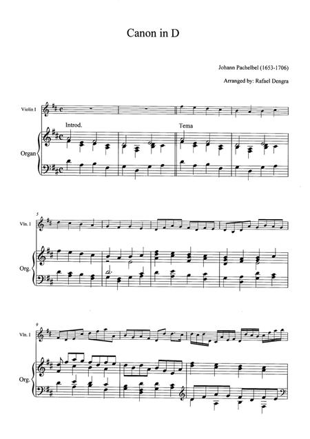 Pachelbel - Canon in D - Arranged by Rafael Dengra - Violin&Organ Full Score