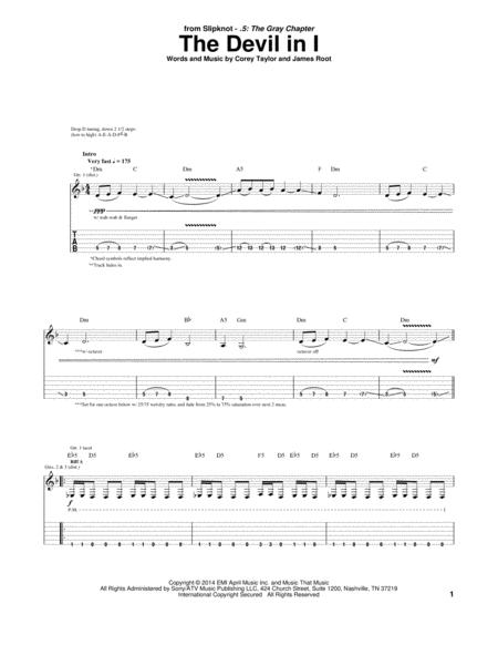 Download The Devil In I Sheet Music By James Root - Sheet Music Plus