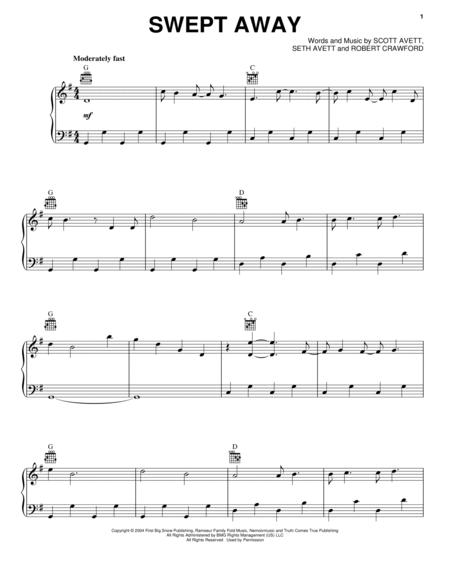 Download Swept Away Sheet Music By The Avett Brothers Sheet Music Plus