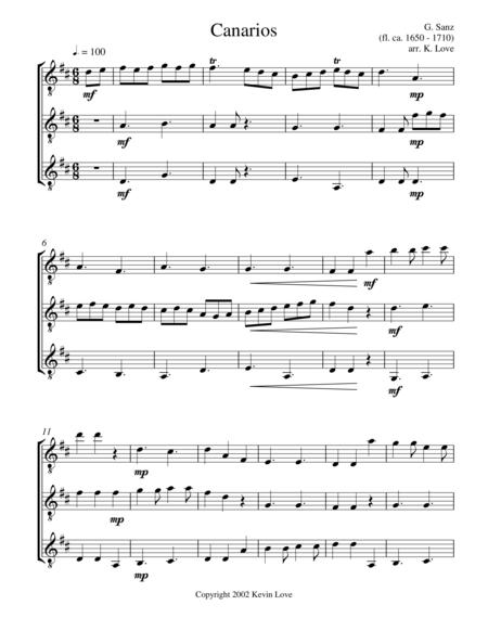 Canarios (Guitar Trio) - Score and Parts