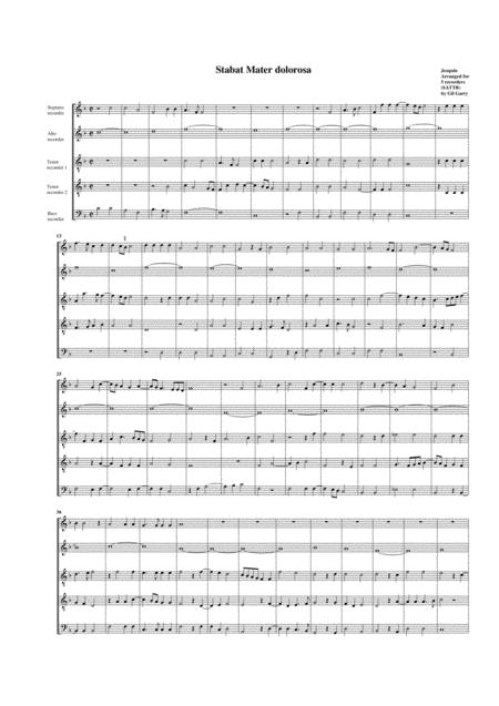 Stabat Mater dolorosa (arrangement for 5 recorders)
