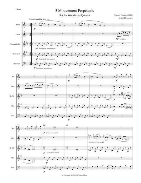 Trois Mouvements perpetuels (3 Perpetual Movements) by Poulenc for woodwind quintet