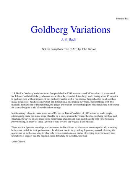 J. S. Bach Goldberg Variations set for saxophone trio (soprano, alto, baritone) - PARTS
